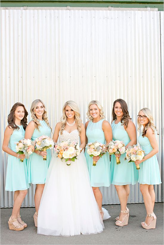 Perfectly Pretty Farm Wedding Blue Bridesmaid Dresses Shortbeach Dressesbridesmaid Shoes