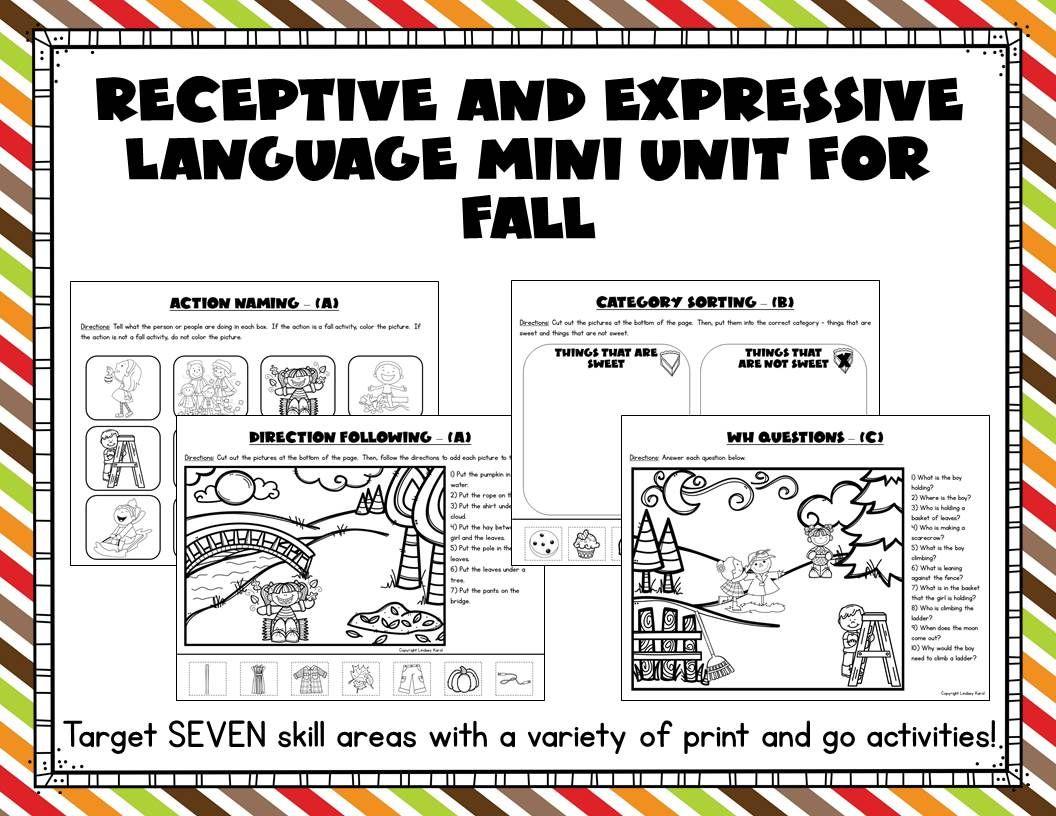 Receptive And Expressive Language Mini Unit For Fall In