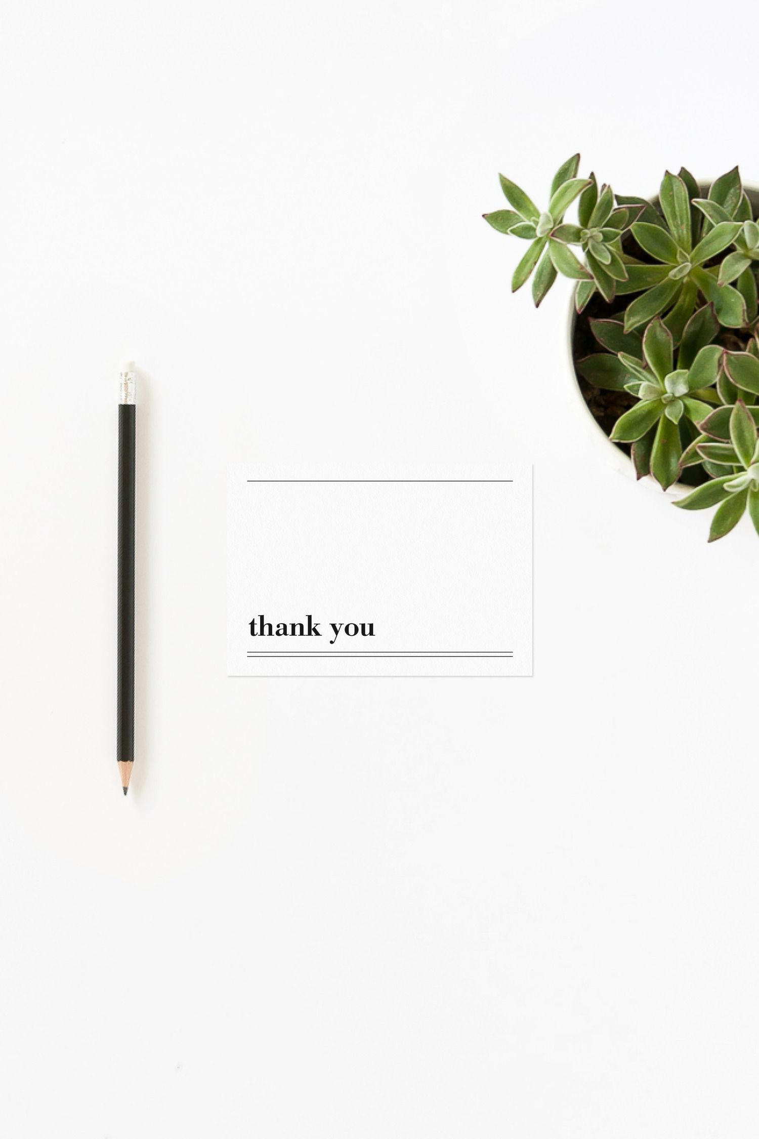 minimalist modern black and white printable thank you card template