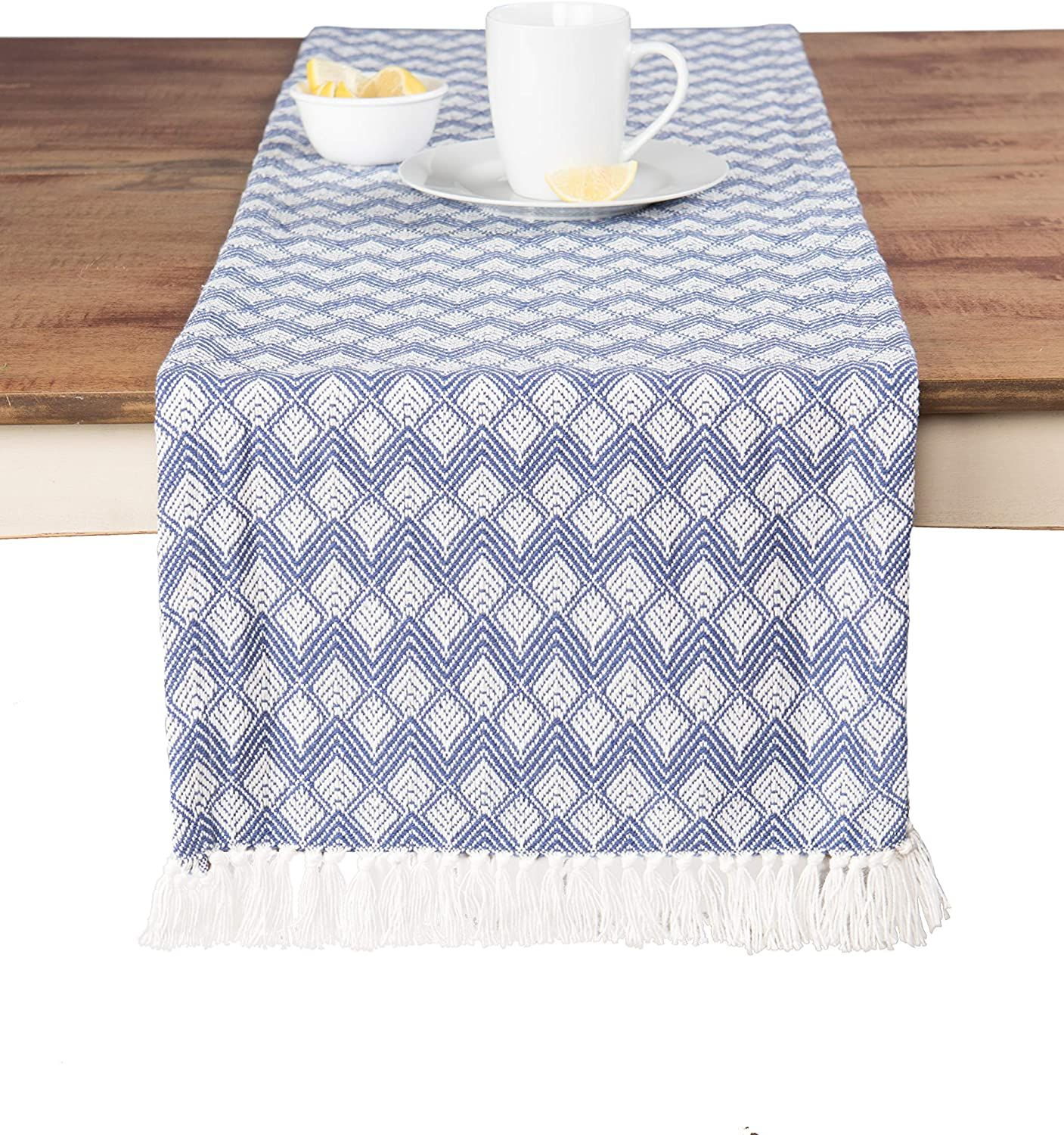Photo of Sticky Toffee Cotton Woven Table Runner with Fringe, Scallop…