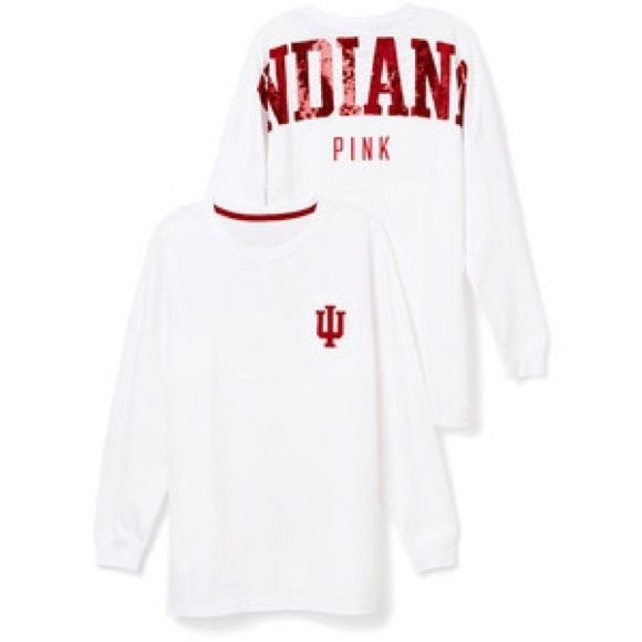 Victoria Secret Pink Indiana Hoosier long sleeve. Little blue detergent stains. Not noticeable. PINK Victoria's Secret Tops