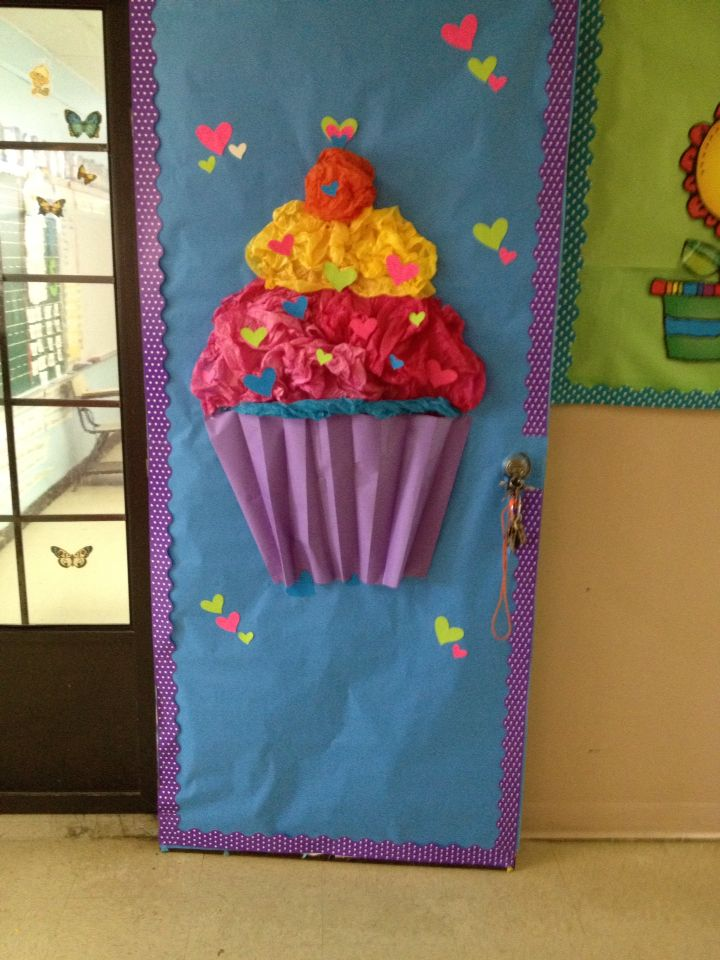 Classroom Decor For Valentines Day : Valentine day cup cake door decoration