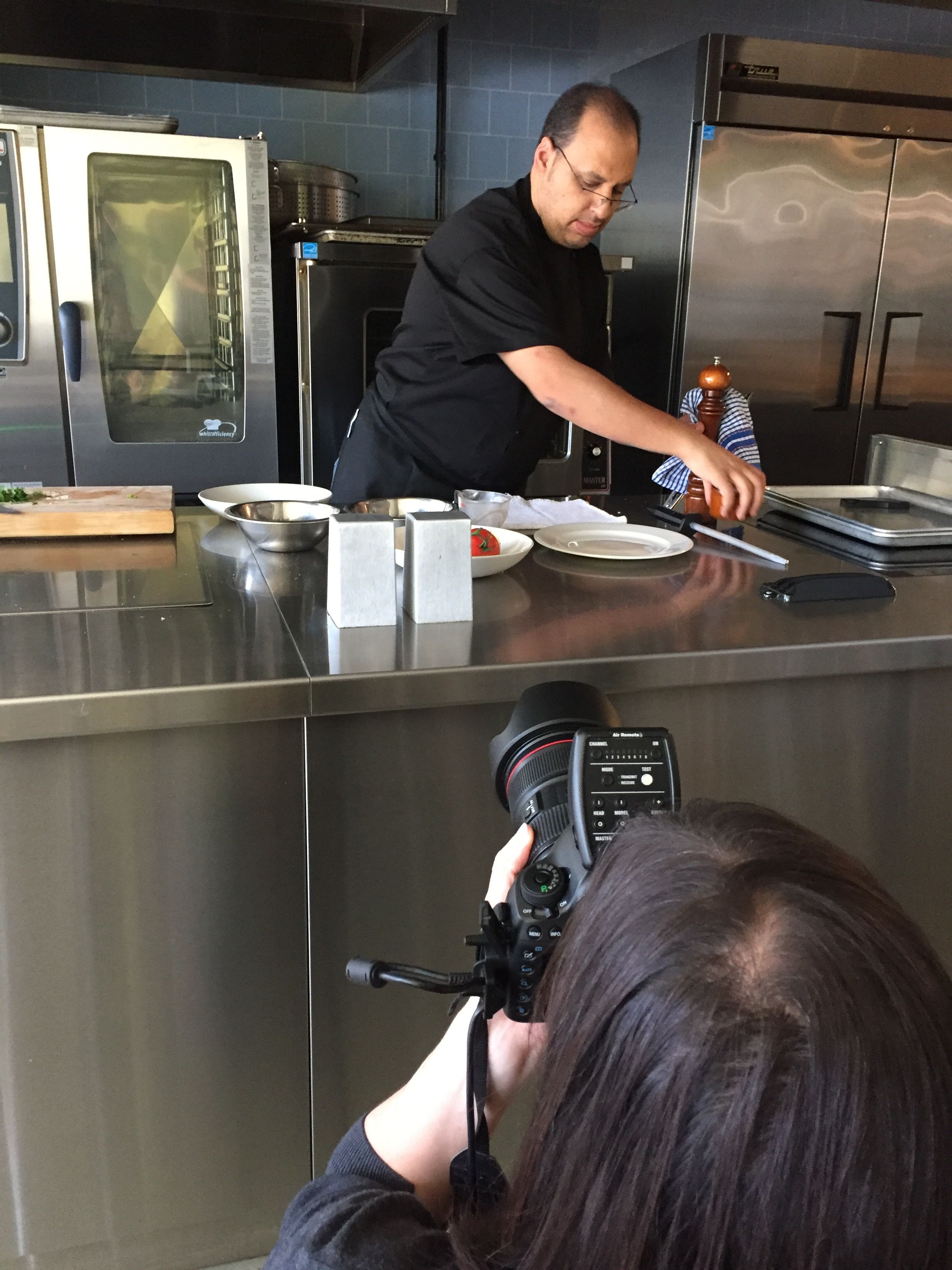 Test Kitchen Chef Head Chef Sam In Action Photoshoot In Our Test Kitchen Chef