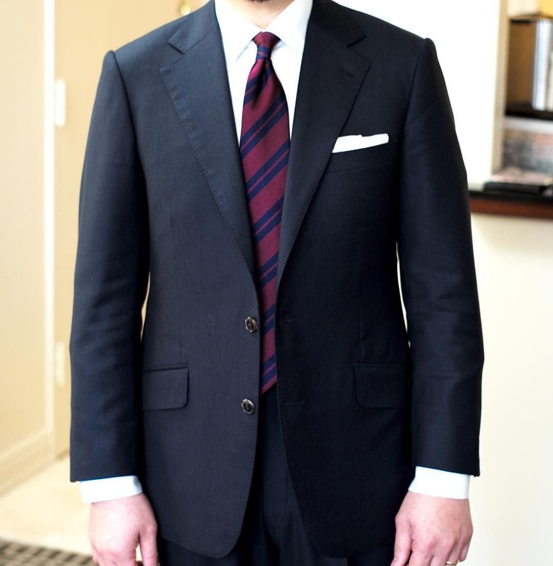 Navy Suit White Shirt Dark Red Tie With Navy Stripes New Land