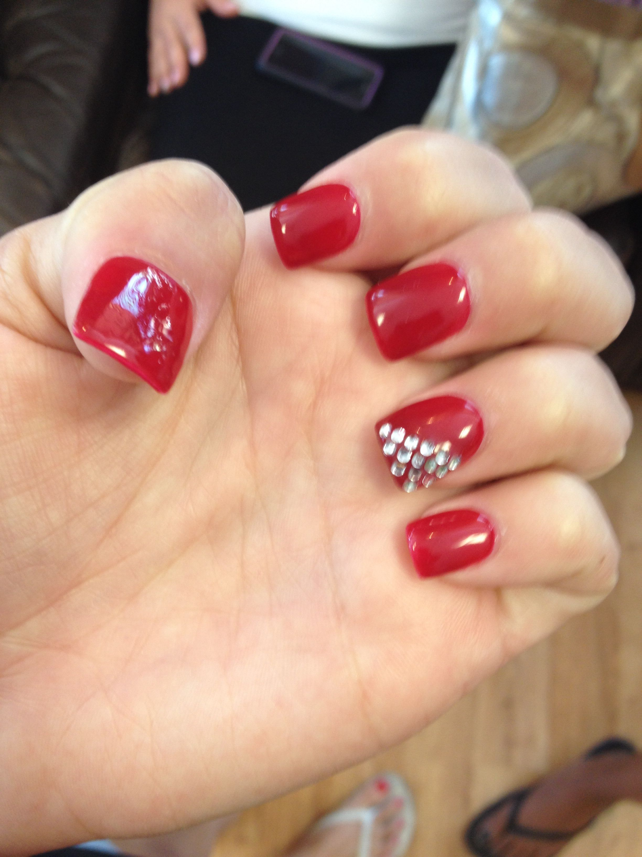 2019 year for girls- Red with nails rhinestones