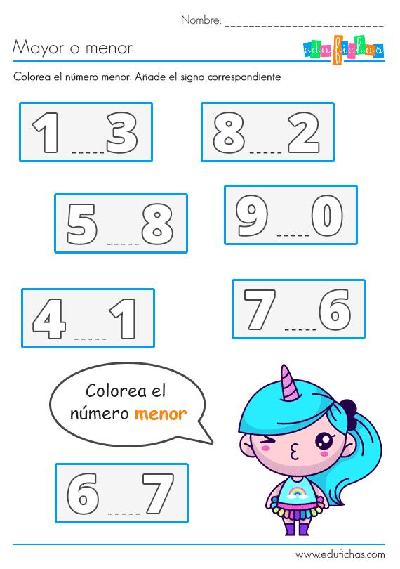 Número Menor Que Matemáticas Para Niños Actividades De Medición Fichas