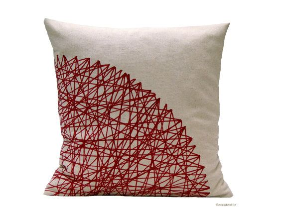 Geometric pillow  - Red print pillow - Natural pillow cover-Burghundy cushion-Beccatextile via Etsy