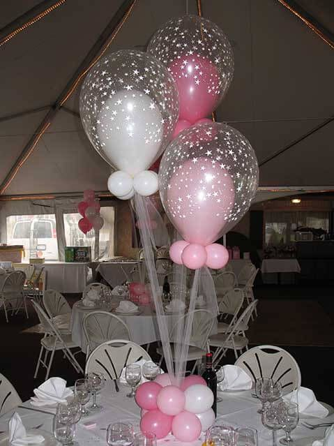 Balloons in centerpiece pink white