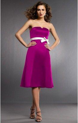 Trendy Sweetheart Sleeveless Satin Princess Tea-length Wedding Party Dresses