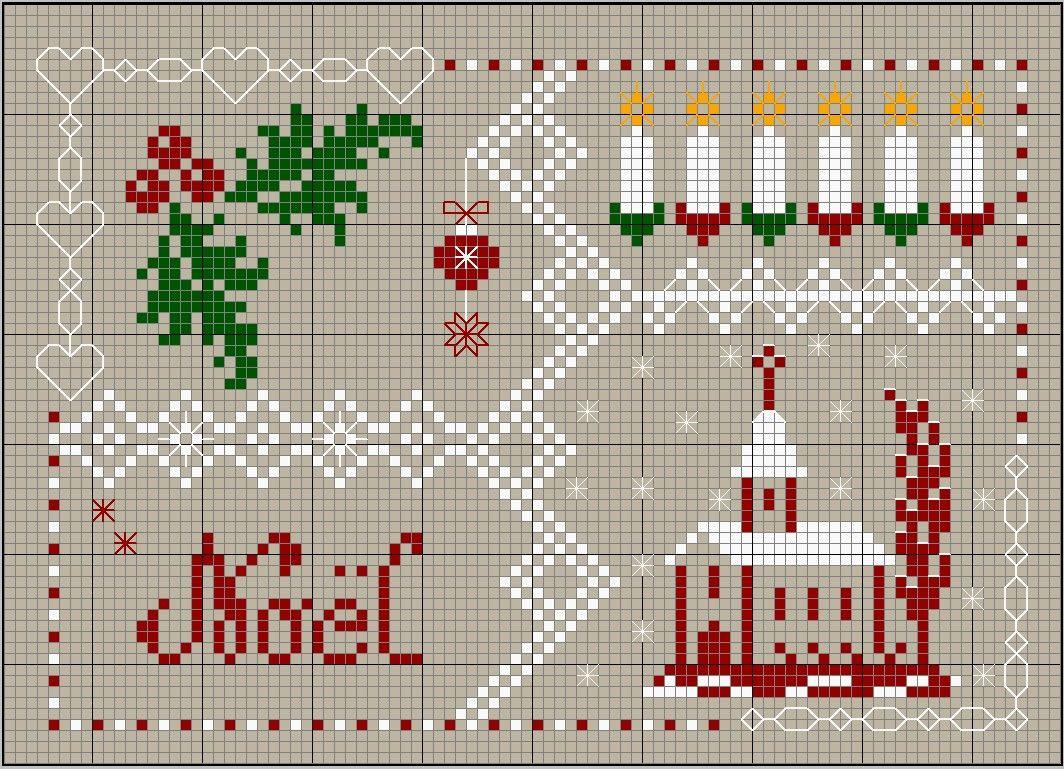 grille offerte par Cousette51 ♥ | Point de croix noel, Kit point de croix, Modele de broderie