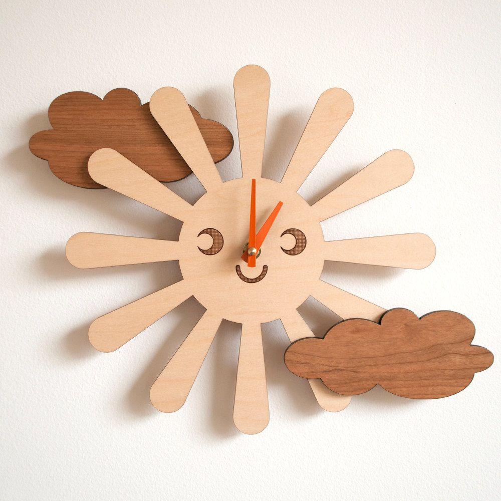 Wooden happy sun clock kids nursery clock sun by graphicspaceswood wooden happy sun clock kids nursery clock sun by graphicspaceswood 6000 amipublicfo Choice Image