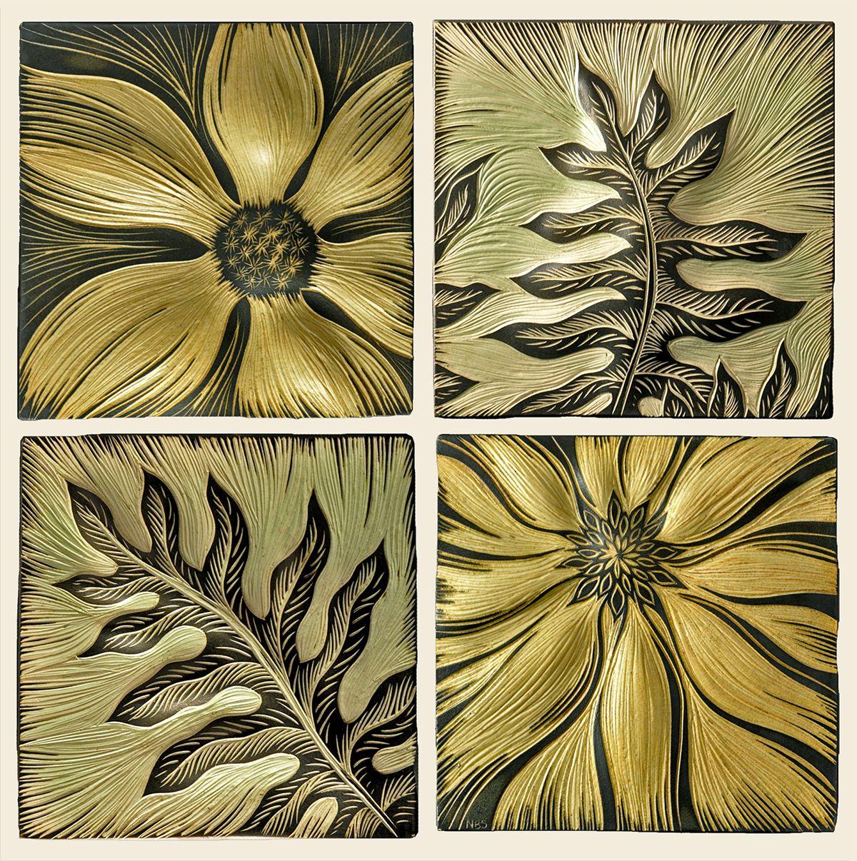 Flowers and Ferns handmade sgraffito carved custom porcelain tiles ...