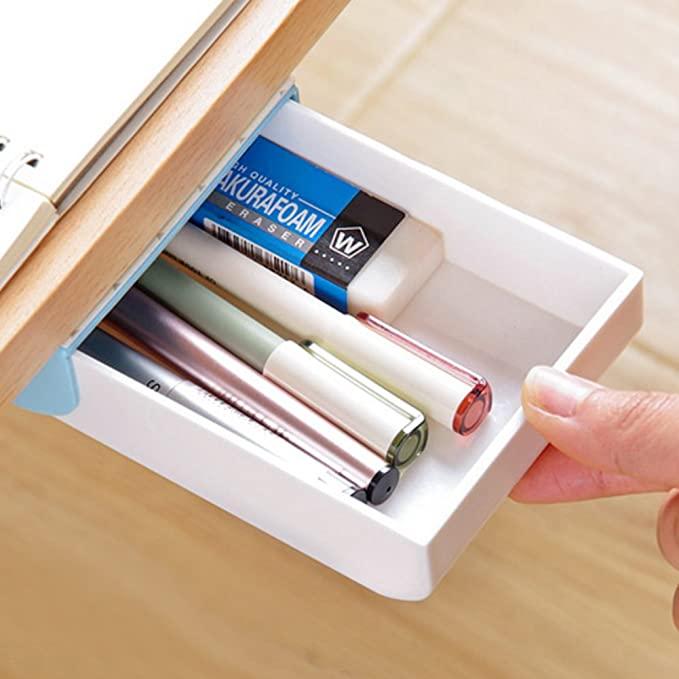 Amazon Com Nakimo Drawer Pencil Tray Self Adhesive Pop Up Hidden Desktop Organizer Blue Office In 2020 Desk Organization Desktop Organization Office Supplies Diy
