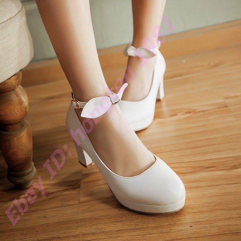 47fd551e5d6 Women High Heel Chunky Ankle Strappy Bow Platform Prom Club Shoes Size Plus