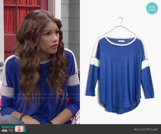 KC s blue t-shirt with white striped sleeves on KC Undercover. Outfit  Details  88afb0c88a