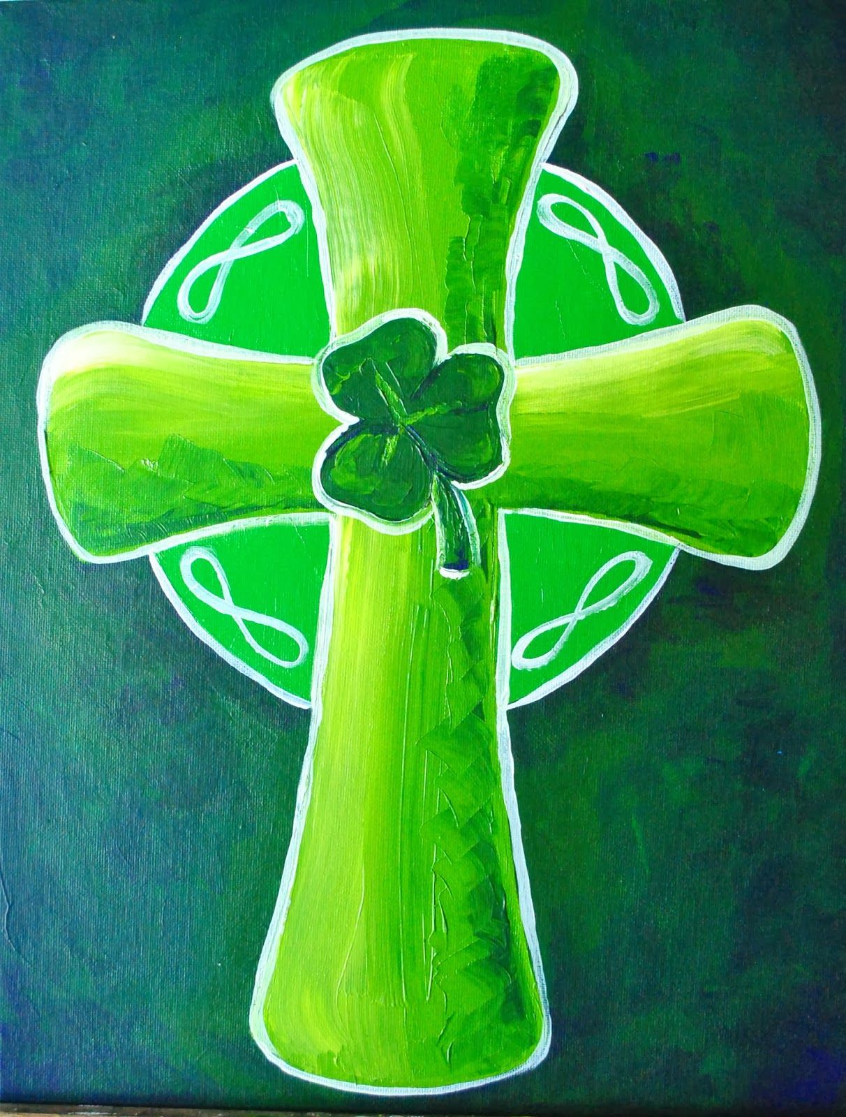 The Roving Brush Paintings For Your Party Saint Patricks Day Art Cross Paintings Painted Saint