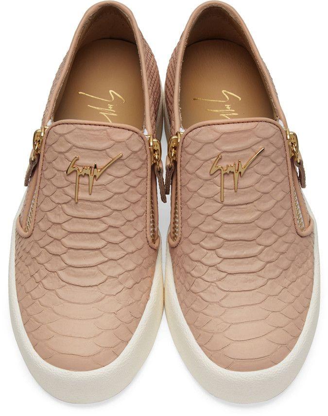 Giuseppe Zanotti - Pink Snake-Embossed London Slip-On Sneakers