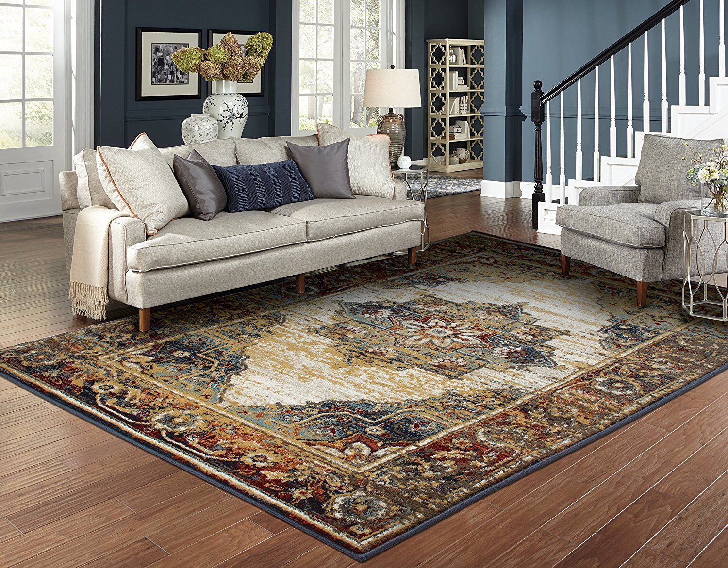 Ragan Foyer Navy Blue Beige Area Rug Area Rugs Rugs In Living