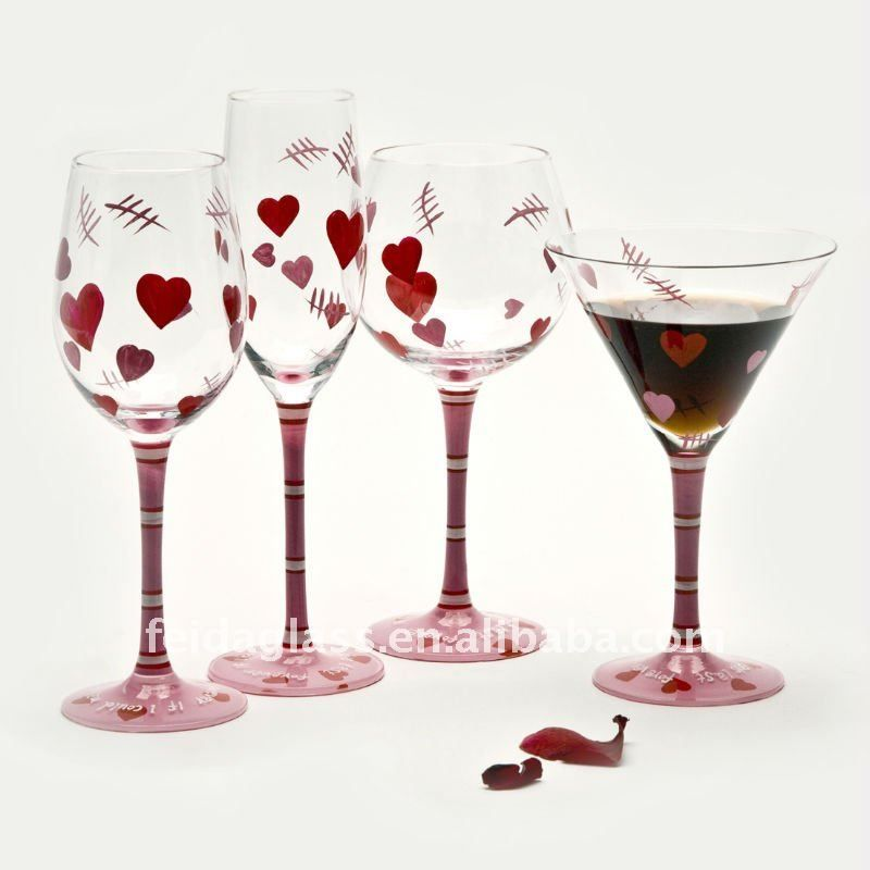 Hand Painted Wine Glass Set Valentine S Day Drinking Glass Glass