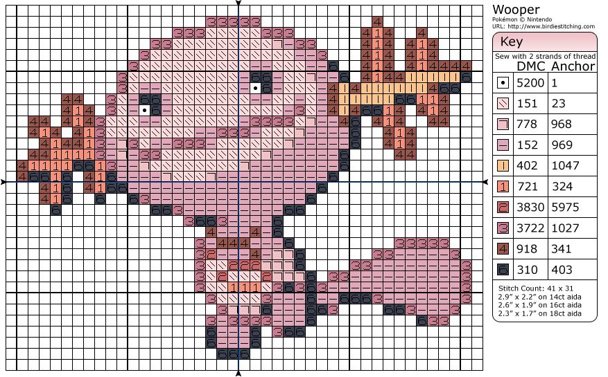 Wooper Pixel Art Grid