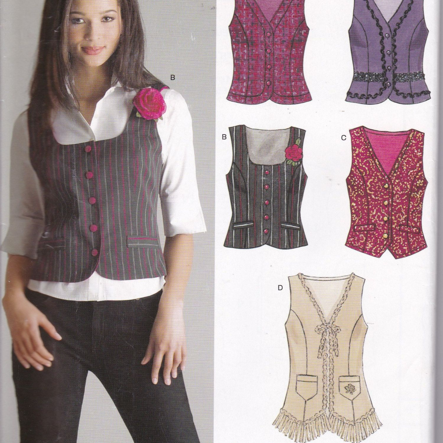 Sewing Patterns Women Waistcoat with Variations New Look 6514 Size ...