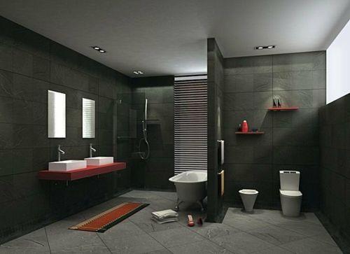 33 dunkle Badezimmer Design Ideen - bad einrichtung dunkle ...