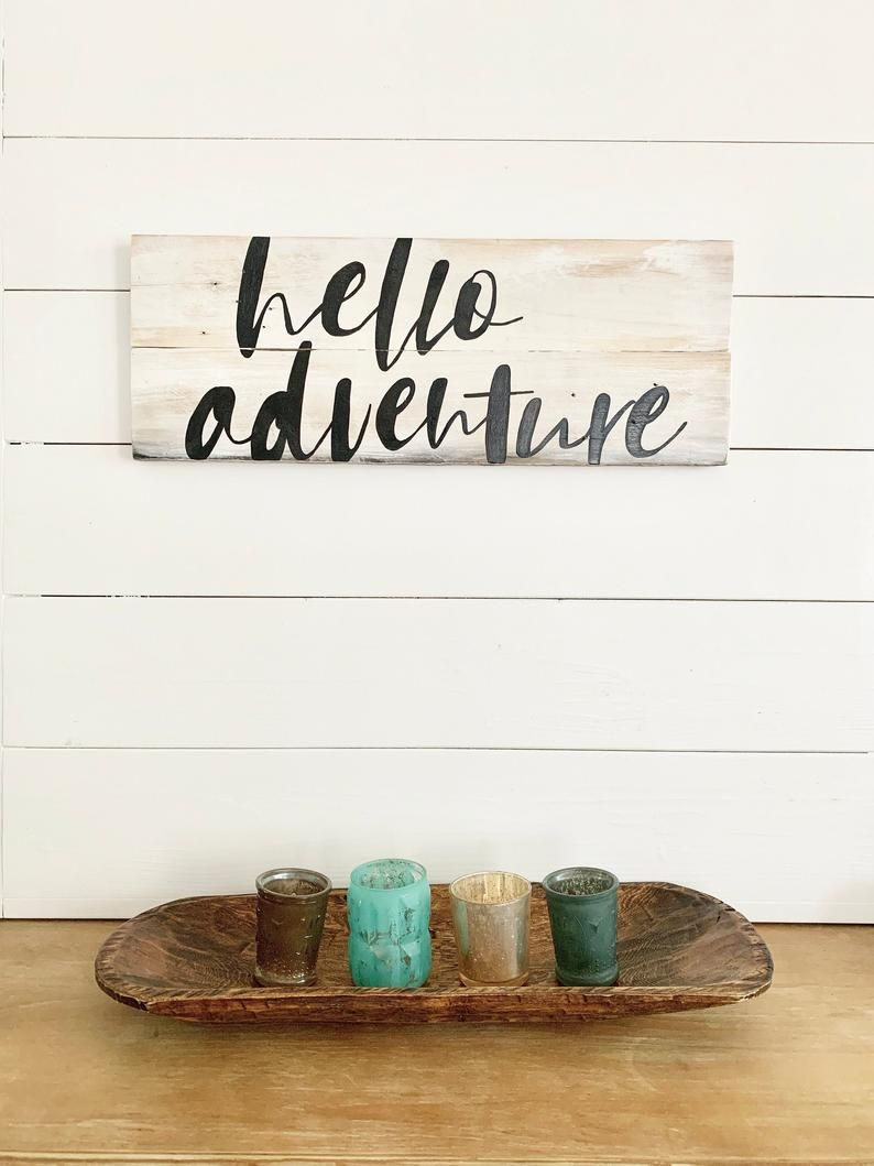 Hello Adventure Rustic White Washed Wood Sign In 2020 Wood Signs Home Decor Rustic Wood Signs Wood Signs