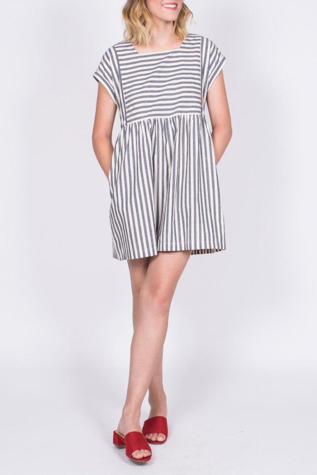 63cb453575c4d7 Listicle Striped Babydoll Dress - Main Image