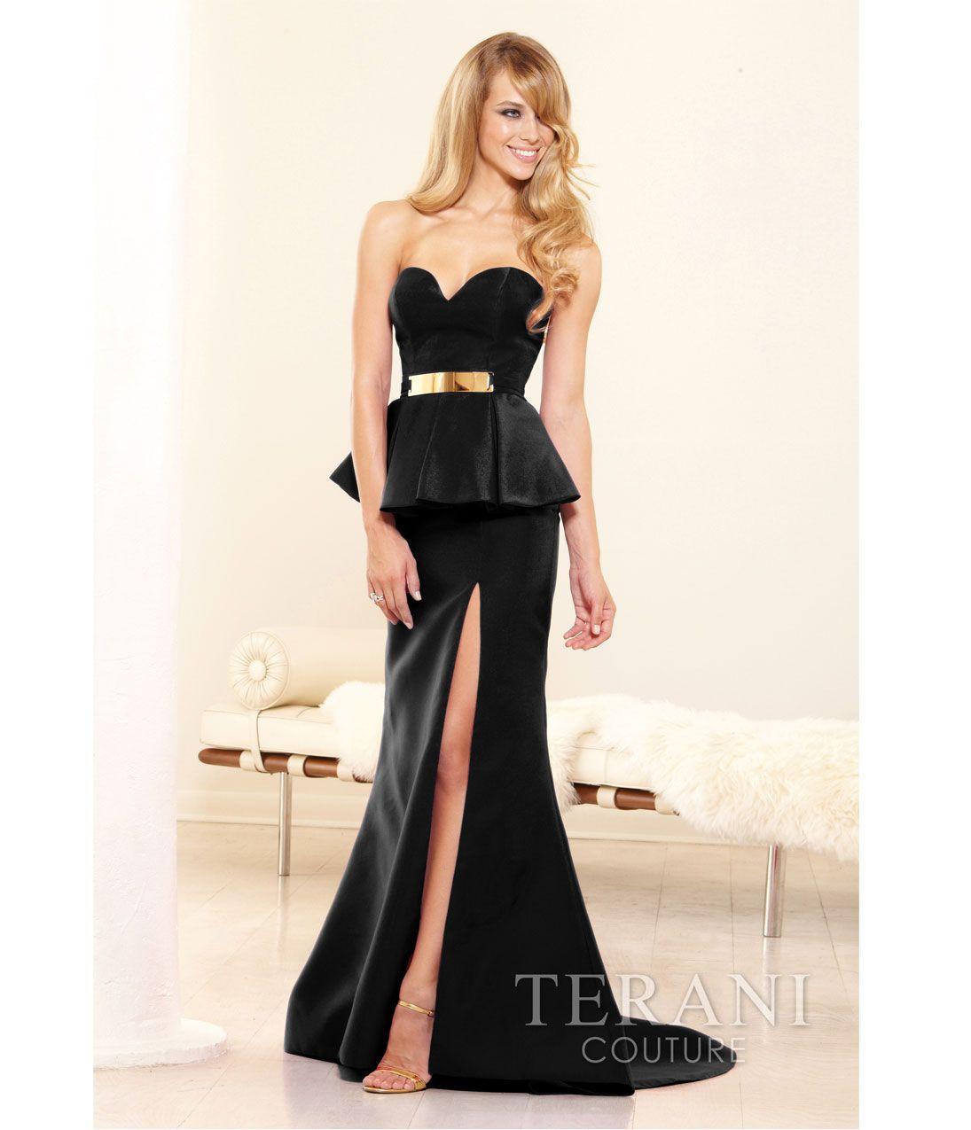 Unique vintage black peplum vintage prom and trumpets terani 2014 prom dresses black peplum trumpet prom gown ombrellifo Images