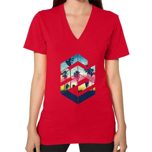 Geometric Sunset Beach (Brighter) V-Neck (on woman)