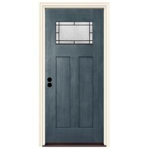 Jeld Wen 36 In X 80 In Right Hand 1 Lite Craftsman Wendover Denim Stained Fiberglass Prehung Front Door With Brickmould Blue Home Depot Doors Front Door Makeover Exterior Doors