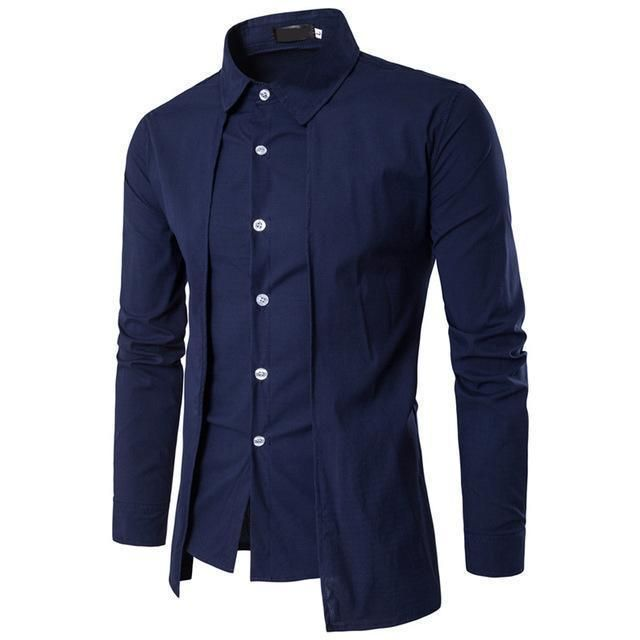 Hajotrawa Mens Casual Pure Color British Style Button Front Long Sleeve Shirts