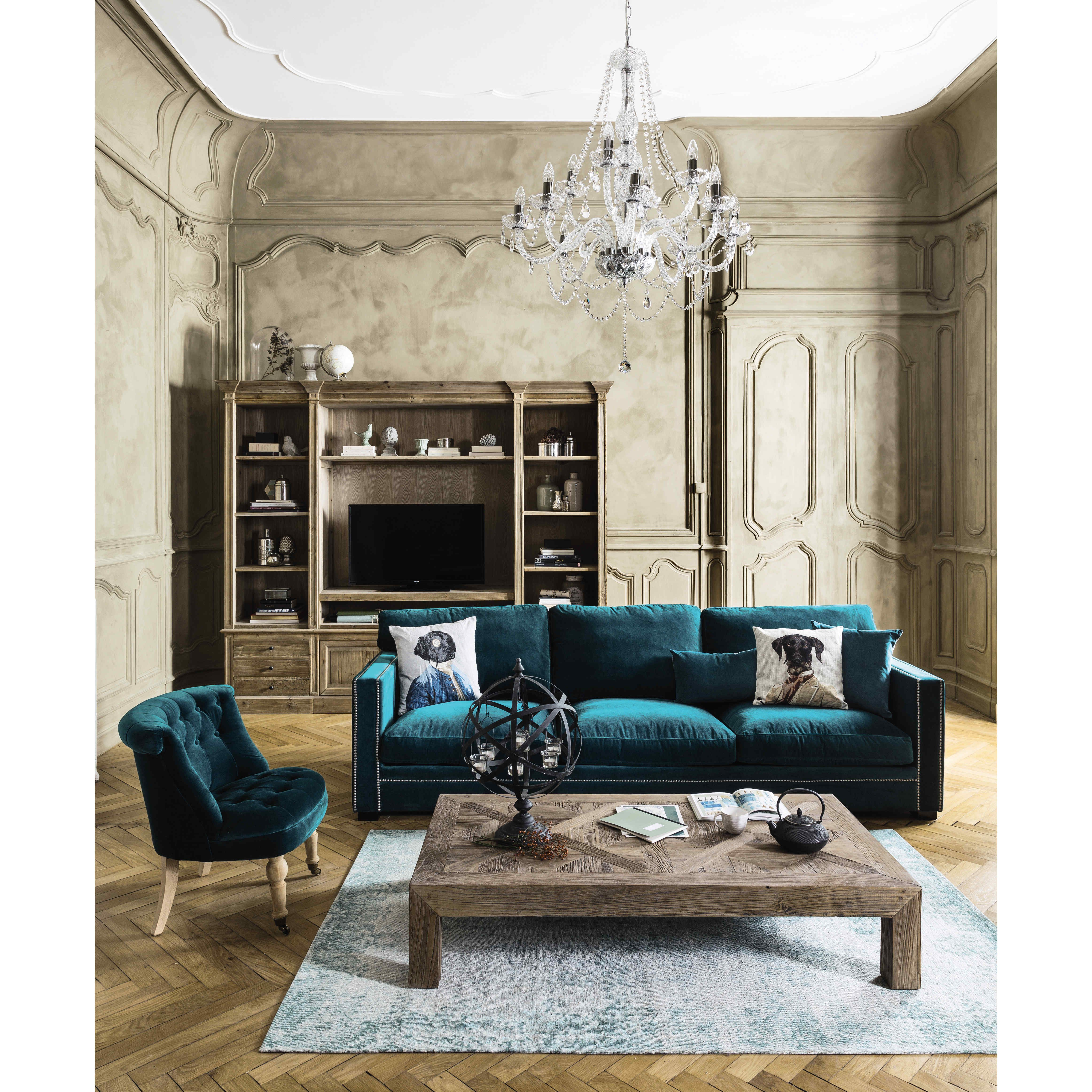 canap 3 4 places en velours bleu velours bleu maison du monde et velours. Black Bedroom Furniture Sets. Home Design Ideas