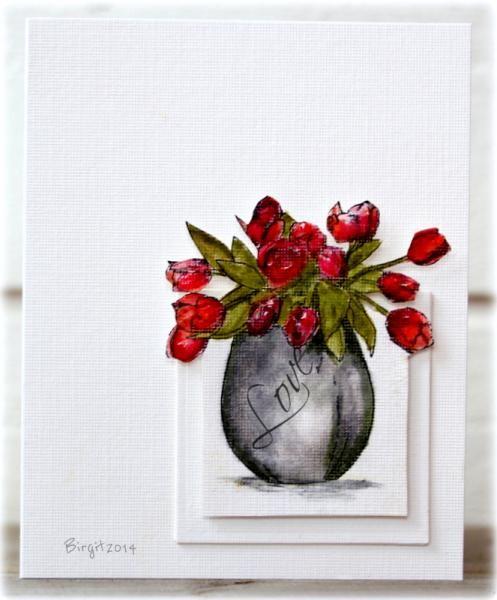 love tulip vase card by Birgit