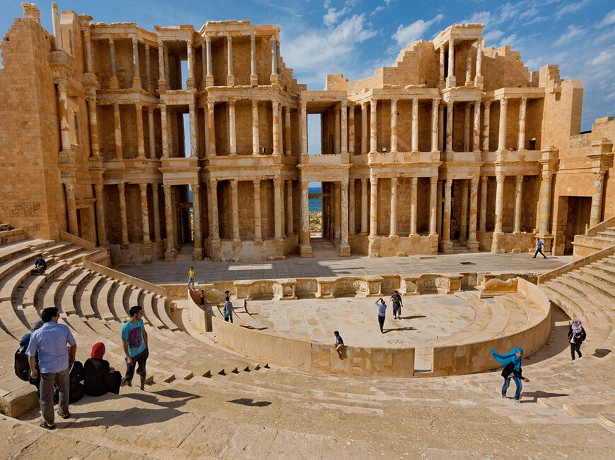 Roman Theater, Libya (Libyans enjoy a visit to Sabratah's ancient Roman theater, one of Africa's largest.)