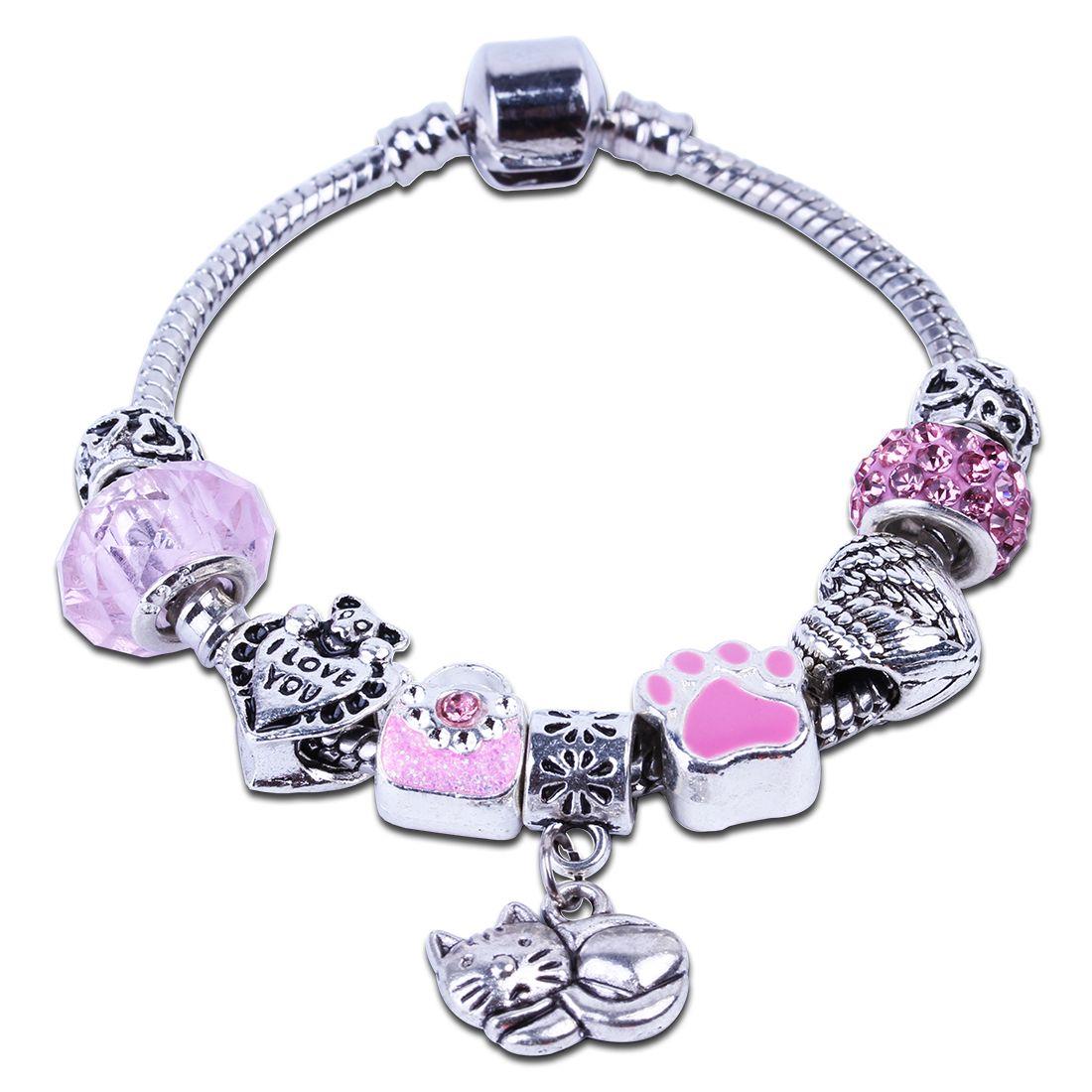 Fashion european pink handbag crystal glass charm bracelet diy beads