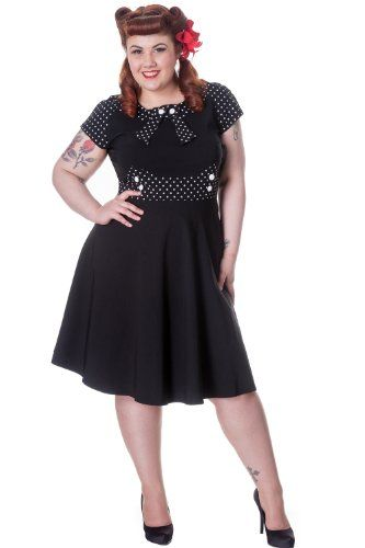 Curvy Fashionista Black Polka Dot Dress Black with Polka Dot