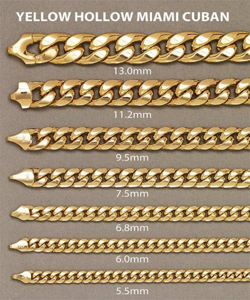 03fc59524a33c 14kt Yellow Gold Miami Cuban Chain 5.1mm Width 20 Inch Long (39.2 ...
