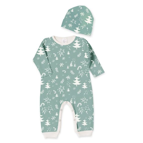 Newborn Baby Christmas Outfit Newborn Boy Girl Green by TesaBabe