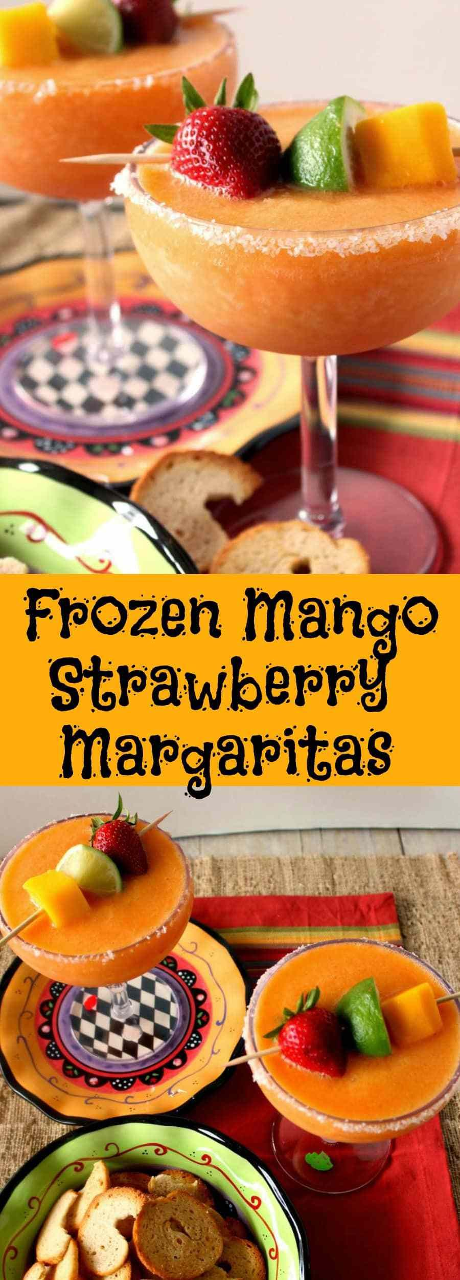 Frozen Mango Strawberry Margaritas Drinks | Kudos Kitchen by Renee #frozenmargaritarecipes