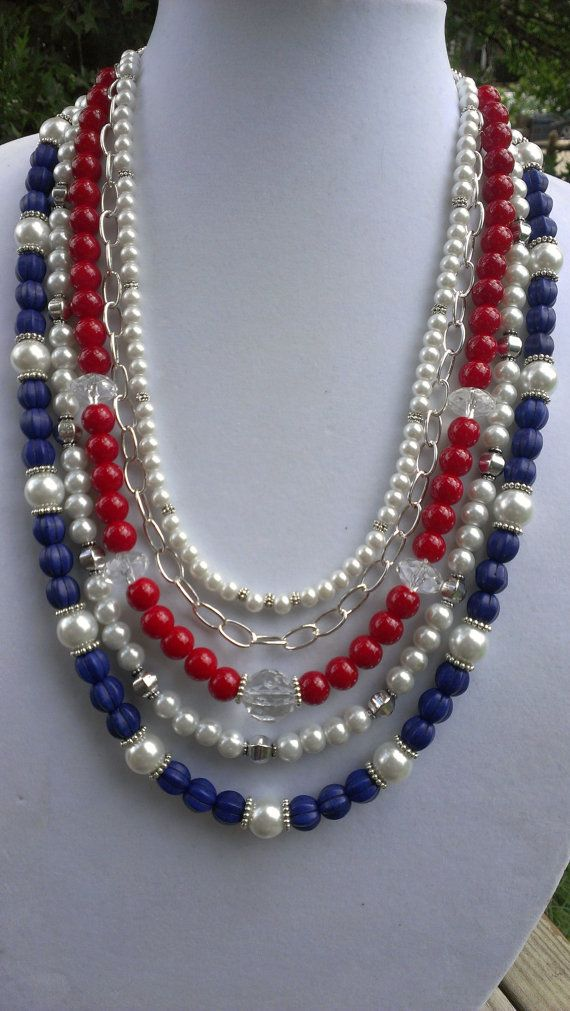 RED WHITE & BLUE Necklace for your 4th of July by jewelMom1965, $43.00