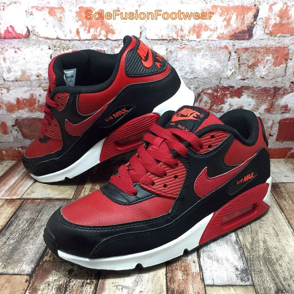 17eb879eb8c Nike Air Max 90 Trainers Black Red sz 5.5 Boys Girls GS Sneakers US 6Y Kids  38.5