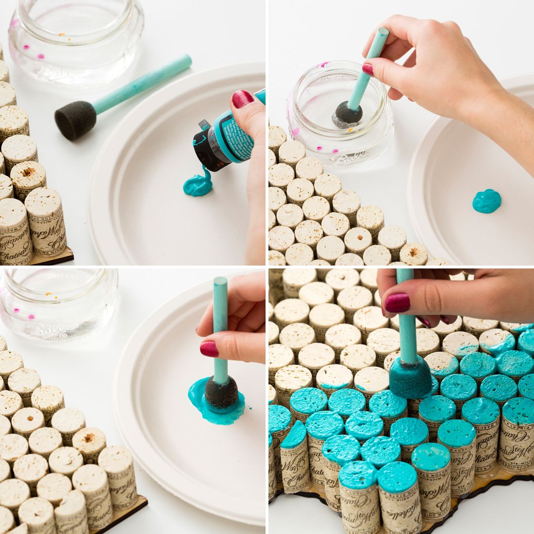 Crafts to do with wine corks - Make State Shaped Wall Art Using Old Wine Corks