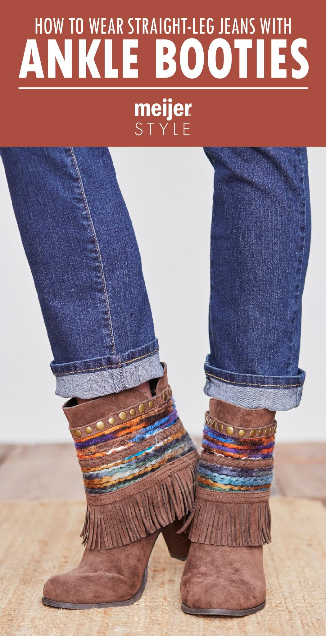 031aedaf38 The best ways to wear straight leg jeans with trendy ankle booties this  fall