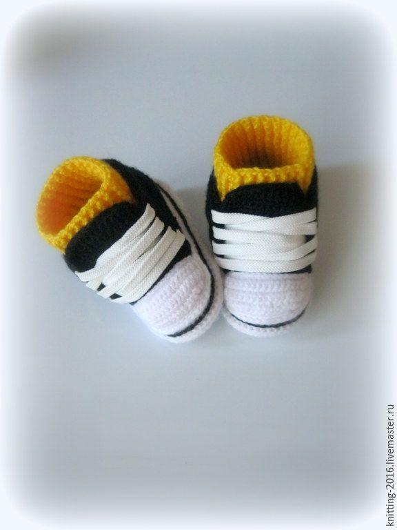 Купить Кеды для новорожденных - пинетки для новорожденных, кеды вязаные, пинетки-кеды для малышей
