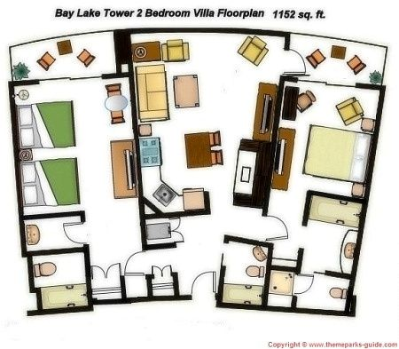 Disney Bay Lake Tower One Bedroom Villa Floor Plan