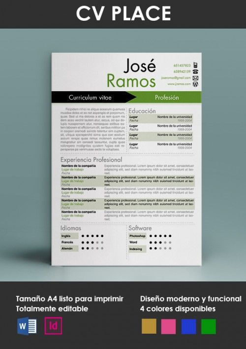 Modelo Place | jani | Pinterest | Modelo, Curriculum ejemplo y Formato