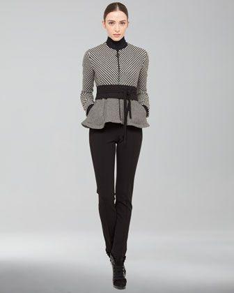 Wool-Blend+Peplum+Jacket,+Long-Sleeve+Jersey+Shirt,+Full-Length+Jersey+Pants+&+Obi+Belt+by+Akris Punto