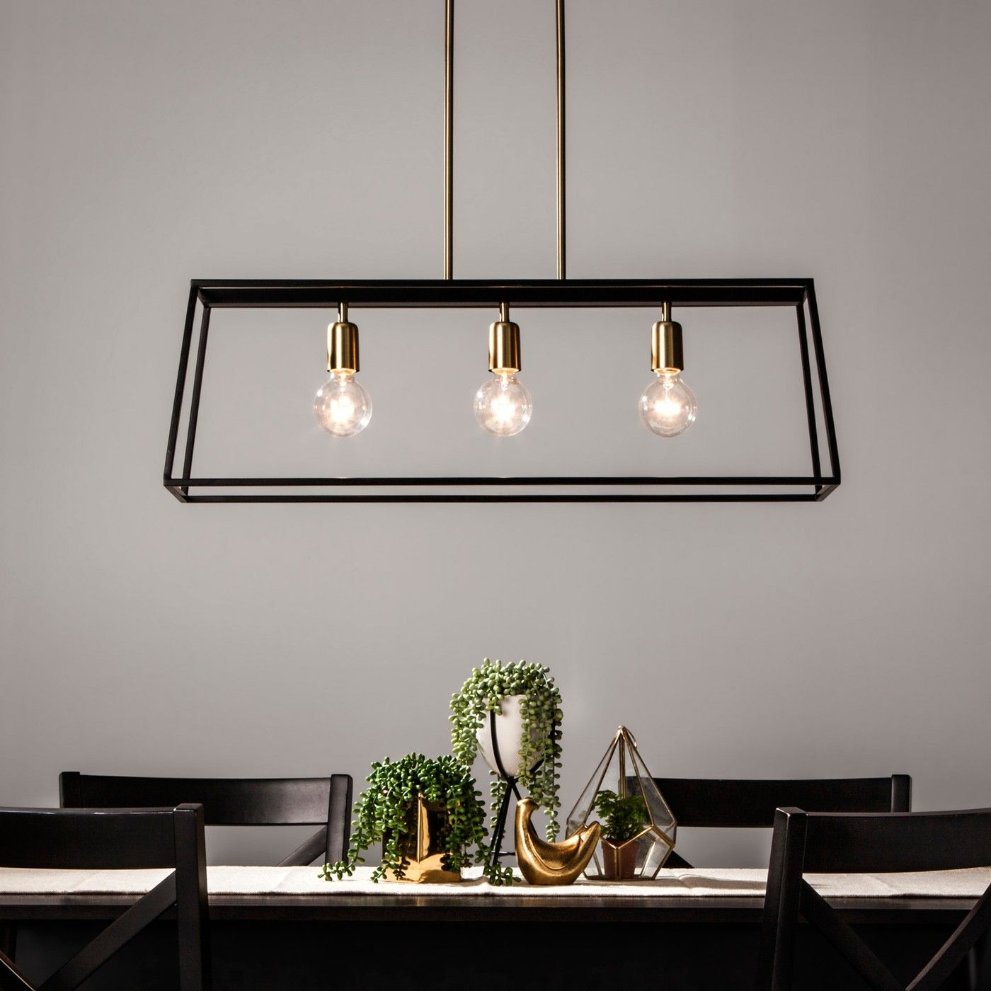 3 Light Pendant Modern Farmhouse Ceiling Light Black Threshold