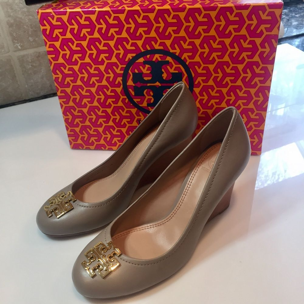 30df32fd39 New Women's Tory Burch Melinda Wedges Pumps French Gray/Gold, Size 8 $295 #
